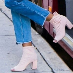 Mia Pink Suede Heel Ankle Boots Open Toe